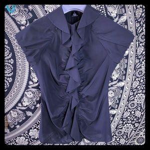 Arden B sleeveless black top, ruffles, size S